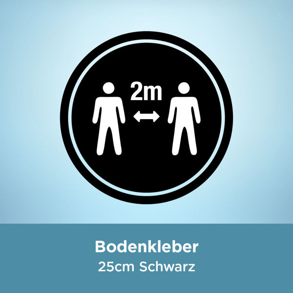 Bodenkleber COVID 2 Meter / 25cm Schwarz